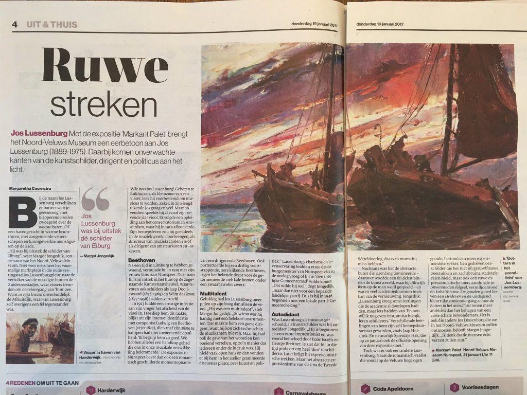 artikel 'Ruwe streken', over Jos Lussenburg (Stentor 19-01-2017)