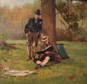 Victor Fontaine (1837-1884), Twee schilders aan het werk_Olieverf op paneel 45,5 x 47,8 cm (Coll. Barat-Venker)